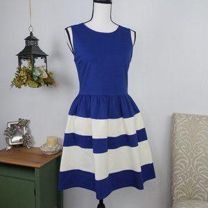 Bar III Sleeveless Striped Fit & Flare Dress Sz L